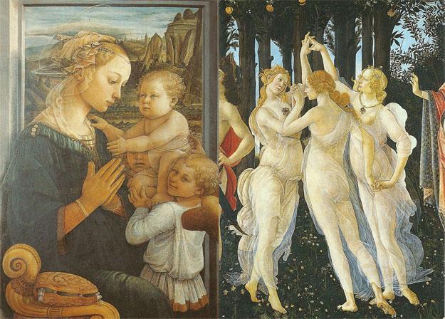 Lippi : Vierge et Enfant -  Boticelli : le printemps