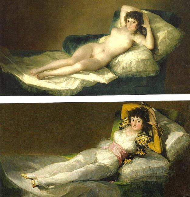 Prado : Goya, La maja desnuda (1797), vestida ( 1805)
