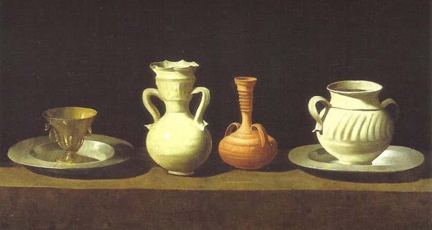 Prado : Zurbaran, Bodegon con cuatro vasijas 1658-64