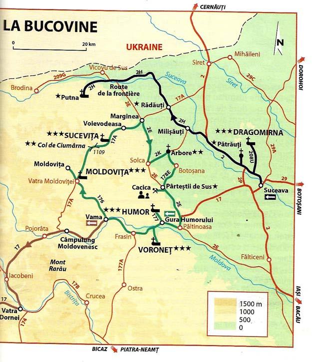 Carte de Bucovine (d'après Michelin)