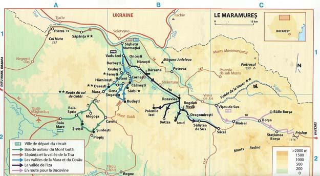 Carte du Maramureş (d'après Michelin)
