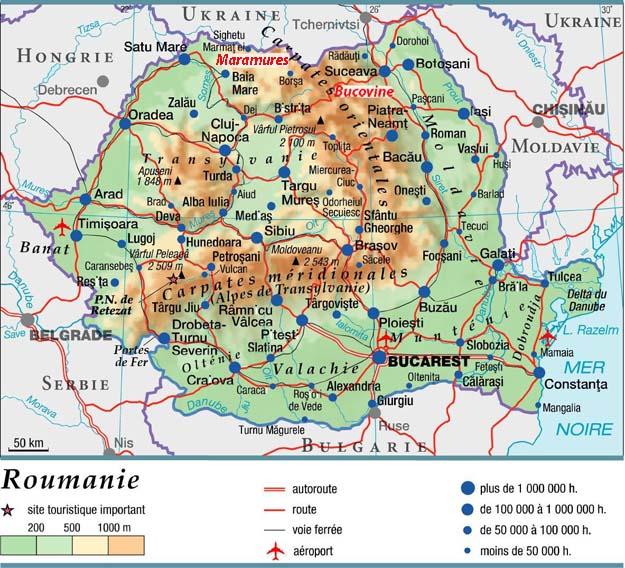 Carte générale de la Roumanie (d'après cartograf.fr)